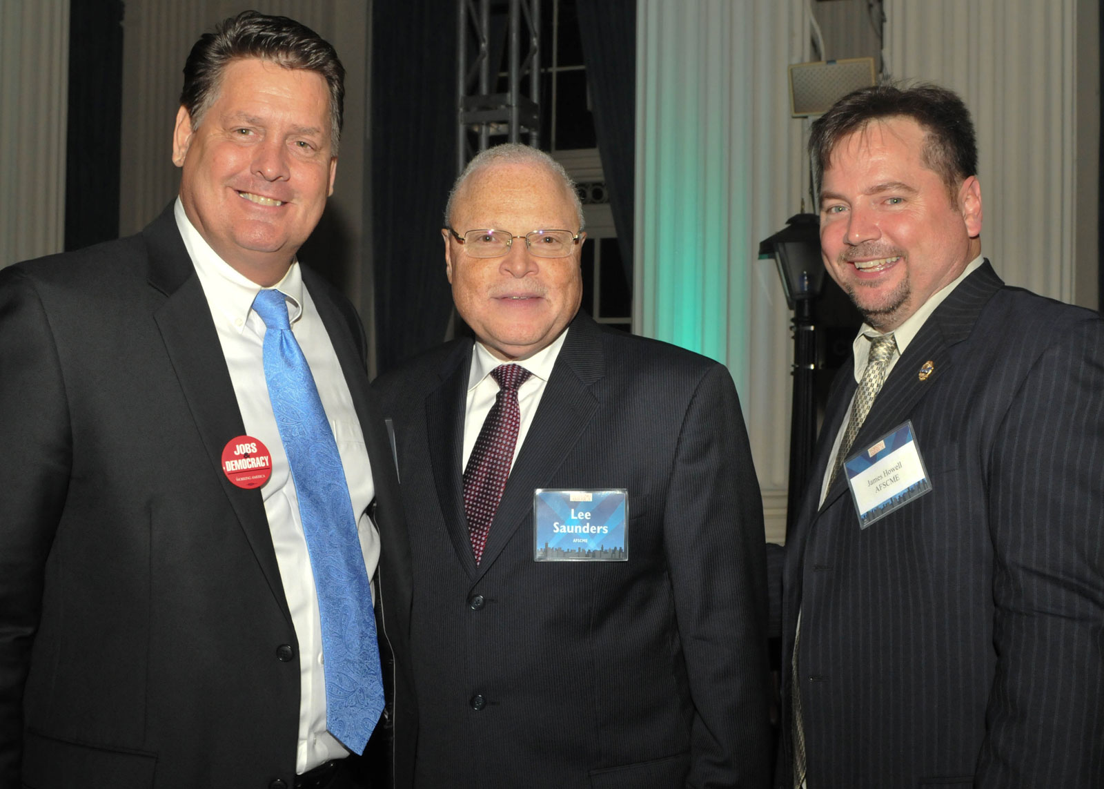 Jim Flanagan with Lee Saunders, President of AFSCME International and Jim Howell, Director of Organizing of AFSCME international